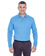 UltraClub 8501 Men Egyptian Interlock Long Sleeve Polo at GotApparel