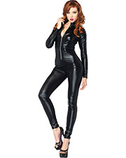 Halloween Costumes UA85047MD  CATSUIT WET LOOK ZIPPER FRONT at GotApparel