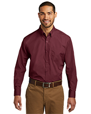 Port Authority W100 Men Sleeve Carefree Poplin Shirt     at GotApparel