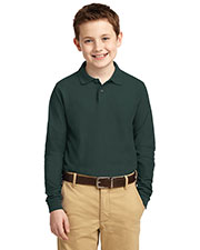 Port Authority Y500LS Boys Long-Sleeve Silk Touch  Polo at GotApparel