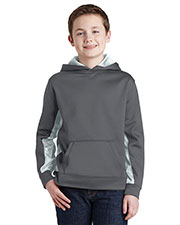 Sport-Tek YST239 Boys CamoHex Fleece Colorblock Hooded Pullover at GotApparel