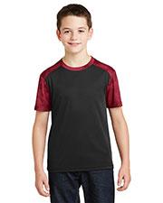 Sport-Tek® YST371 Boys Camohex Colorblock Tee at GotApparel